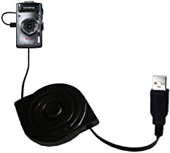 Gomadic USB Power Port Ready Retractable USB Charge USB Cable Wired specifically for The Olympus TG-1 iHS and uses TipExchange