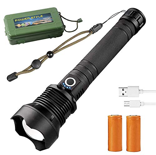 Linterna LED de 90.000 lúmenes xhp70.2 de la más potente linterna de bolsillo con zoom USB, telescopio, USB, zoom USB, impermeable, linterna de camping (2 flashlight + 4 baterías 26650 + 2 cables USB)