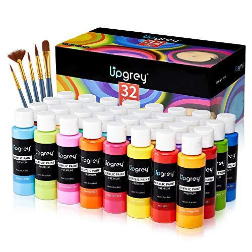 Acrylfarben Set 32 Farbe Set Bunt mit 32 x 60ml Pigment +5 Pinsel, Acrylfarbe Set Acrylfarbenset Ungiftig Vibrierende Acryl Farben für Kinder Papier Holz Keramik Kunsthandwerk