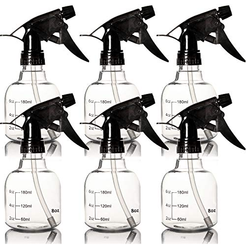Youngever 6 Pack Empty Plastic Spray Bottles, Spray Bottles for Hair and Cleaning Solutions (8 Ounce)