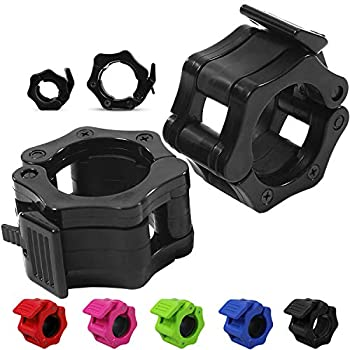 """Quick-Release Safety Collars for Olympic Barbells 2"""" Plates by D1F Set of 2 - Weight Locking Clips for Weightlifting Bars - Heavy-Duty 2-inch Plate Clamps for Powerlifting Strength Training"""