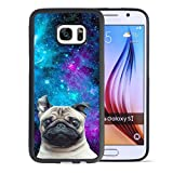 Samsung Galaxy S7 Case With Galaxy Pug Pattern Whimsical Design Bumper Black Soft TPU and PC Protection Anti-Slippery &Fingerprint Case For Samsung Galaxy S7