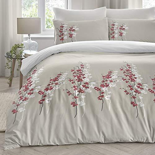 Dreams & Drapes Parure de lit Orientale Facile d'entretien en Polycoton, Motif Fleurs Rouges sur Blanc, pour lit Simple
