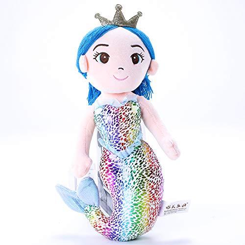 Fairy Zeemeermin Pop Knuffel, Cartoon Mooi Meisje Zeemeermin Prinses Gevulde Pop, Kerst Verjaardagscadeau Voor Kinderen 30Cm (Blauw)