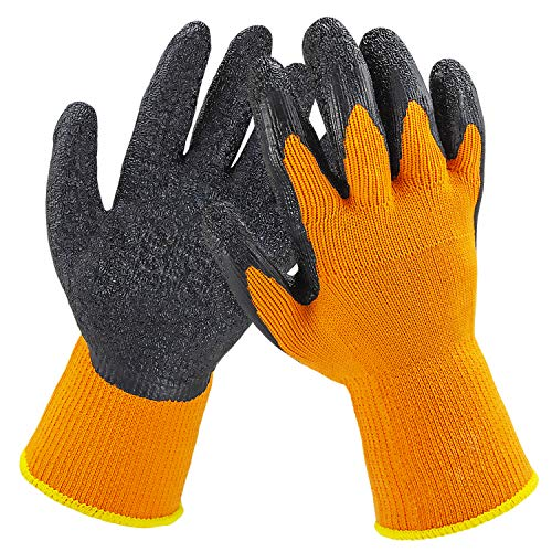 [12 Pairs] Orange Black Work Gloves - Rubber Coated Working Gloves, Firm Grip, Slip Resistant, Heavy Duty Knit for Men Women, Utility, Safety Construction, Gardening Fishing, Winter Indoor Outdoor Use