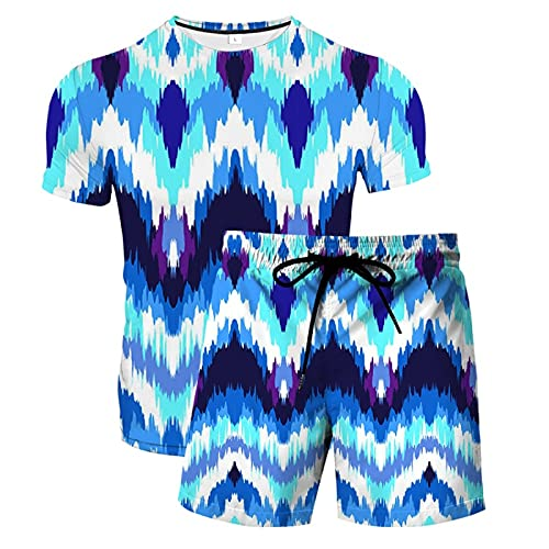 Verano Unisex 3D Camiseta Estampada Divertida Camisetas de Manga Corta y Pantalones Cortos de Natación Troncos de Playa Pantalones de Gimnasio de Surf con Cordón para Vacaciones(Azul,6XL)