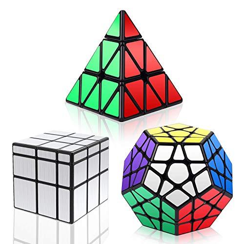 RENFEIYUAN Conjunto del Mundo Dodecahedron + 3x3x3 + Silver 3x3 Espejo Rubik Cubo