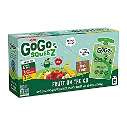 GoGo squeeZ Applesauce on the Go, Variety Pack (Apple/Banana/Strawberry), 3.2 Ounce (12 Pouches), Gl