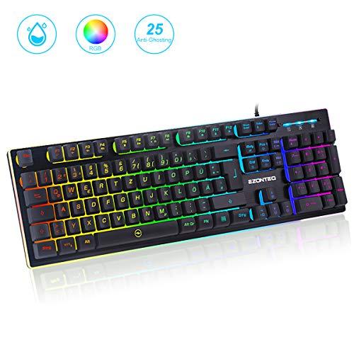 EZONTEQ G010 RGB Gaming Tastatur wasserdicht LED Keyboard Tastenkappen schwarz Gaming-Tastaturen für PC, Bussiness, 25 Tasten Anti-Ghosting(QWERTZ, Deutsches Layout), Gaming 8 Farben Beleuchtung