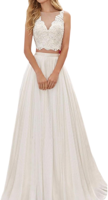 Datangep Women's Sheer Vneck Lace Bodice Two Piece Beach Wedding Dresses