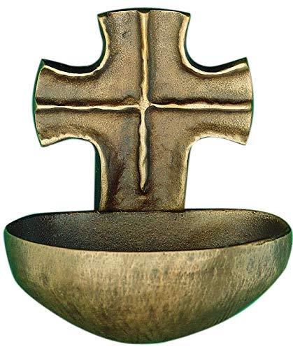 Motivationsgeschenke Weihwasserkessel Kreuz Silberbronze 9 cm Weihwasserbecken für Zuhause