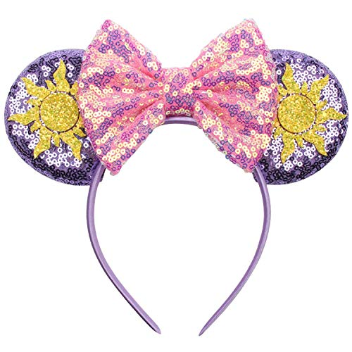 Mouse Ears Headband Sequin Cosplay Costume Purple Ears Pink Bow Headwear for Women Girls Birthday Princess Party Holiday Theme Park Favor Decorations Hair Accessories