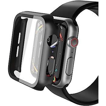 Misxi Apple Watch Series 5 / Series 4 44mm ケース, 3D全面保護 ガラスフィルム PC全面保護カバー 傷防止 耐衝撃 軽量 精密操作 高感度 Apple Watch 超薄型フィルム 2019 新しい アップルウォッチシリーズ 5/4 44mm ケース(ブラック)