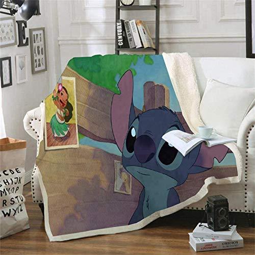 Lilo & Stitch Decke, Flanell, Mikrofaser, wendbar, 3D-Druck, 150 x 200 cm