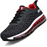 Men Women Running Shoes Air Cushion Sports Trainers Shock Absorbing Sneakers for Walking Gym Jogging Fitness Athletic Casual(Black.R/HK78,5.5 UK)