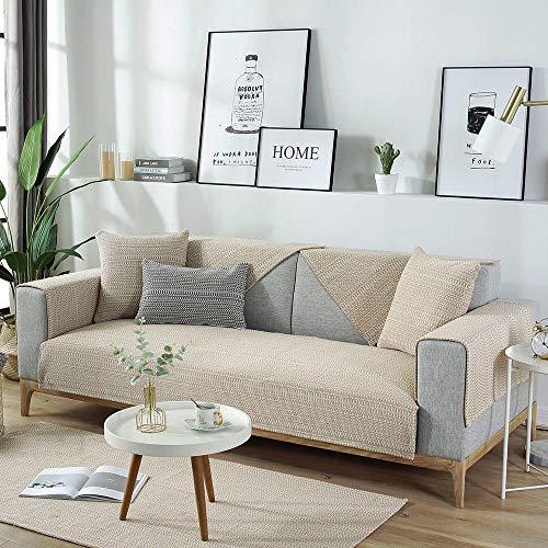 YUTJK Toalla Antideslizante de Franela,Cojín de Sofá Universal de Cuatro Estaciones,Cojín de Protección de Sofá,Cubierta de sofá de algodón Tejido de algodón-Beige_90×160cm