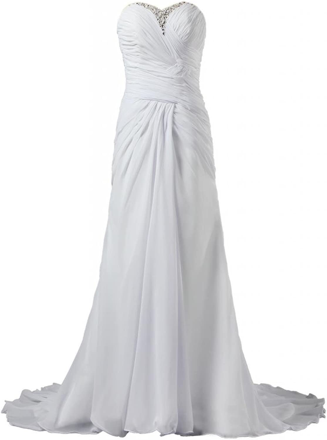 ANTS Simple Long Beach Wedding Dresses Gown for Women
