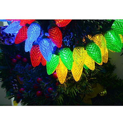 Homeleo Battery Operated C9 Christmas Lights, 50 LED Multicolored Strawberry String Lights for Holiday Season Christmas Wreath Garland Tree Fireplace Decorations (33ft, 50-Lights)