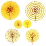 ANCLLO Juego de 12 Ventiladores de Papel para Colgar para Fiestas, decoración de guirnaldas de Papel con patrón Redondo para cumpleaños, Bodas, graduación, Eventos, Accesorios (Amarillo)