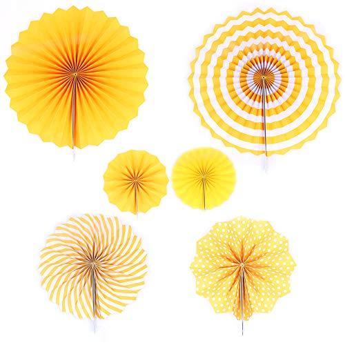 ANCLLO Juego de 12 abanicos de papel para colgar fiestas, diseño redondo, guirnaldas de papel, decoración para cumpleaños, bodas, graduaciones, eventos, accesorios, color amarillo