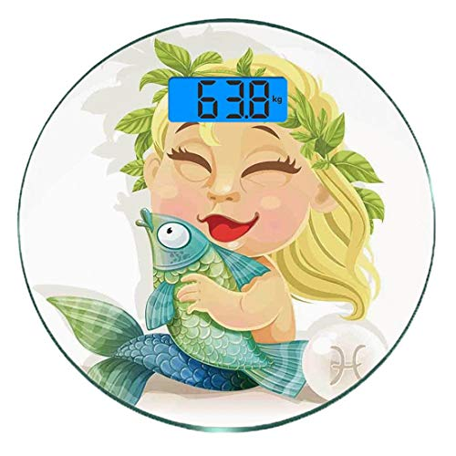 Digitale Präzisionswaage für das Körpergewicht Runde Astrologie Ultra dünne ausgeglichenes Glas-Badezimmerwaage-genaue Gewichts-Maße,Baby-Fisch-Symbol, das Fisch-Nemo-Horoskop-Sammlung Venus Little Me