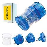 Natuiahan Universal Plug Adapter. Adattatori Multiregionali per Stati Uniti, America, Europa, Asia, Australia e Regno Unito. Adattatore da Viaggio in Tutto il Mondo. Colore Blu