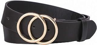 Tanpie Women's Leather Waist Belt Double Buckle for Dress Jeans Black Large