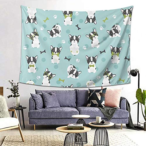 YX-Handsome Tapestry Frenchie - French Bulldog Grey Wall Hanging Wall Tapestries Wall Blanket Art Nature Home Decorations for Living Room Bedroom Dorm Decor (60' X 80')