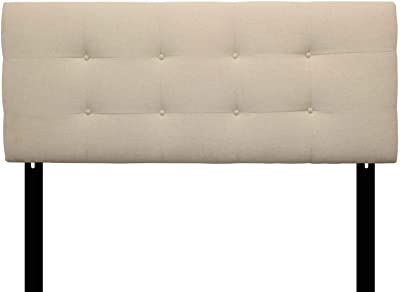 Sole Designs Ali Collection Padded Bedroom Headboard Panel with 8 Button Tufting, Arcadia Series, Natural Finish, Queen Sized Headboard