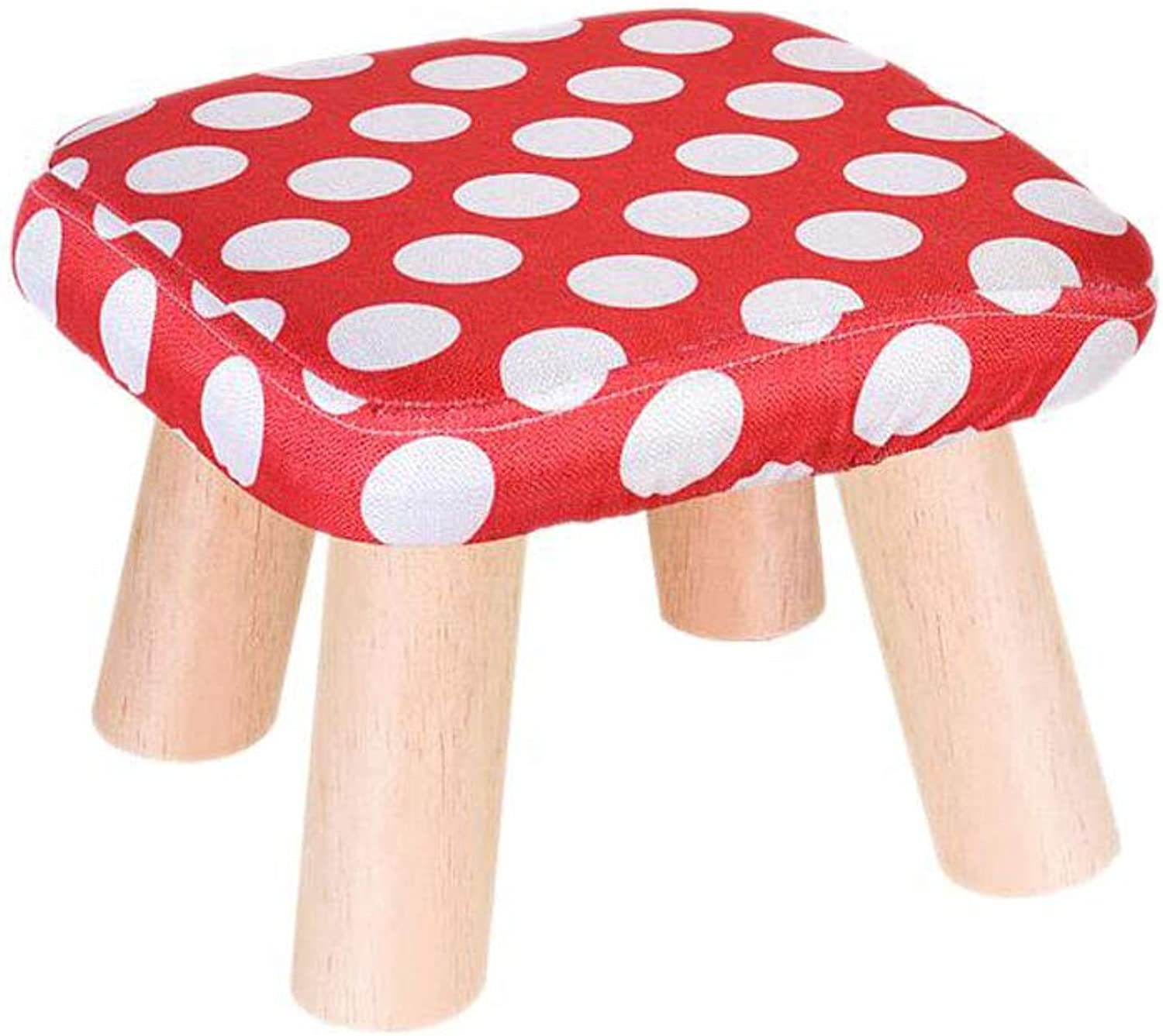 Small Stool, Solid Wood Material Fashion Creativity, shoes Bench Coffee Table Stool, Two colors (color   RED)