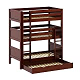 Maxtrix Solid Hardwood Triple Twin-Size Bunk Bed with Straight Ladder and Trundle, Chestnut