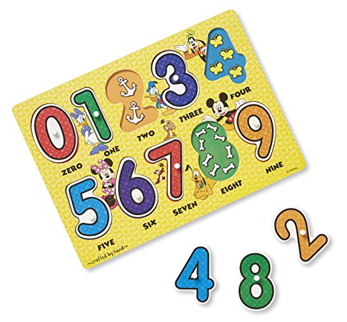Melissa & Doug Disney Mickey Mouse Clubhouse Numbers Wooden Peg Puzzle (10 pcs)