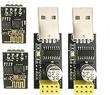 ICQUANZX Module émetteur-récepteur sans fil WiFi série ESP8266 ESP-01 avec adaptateur USB vers ESP8266 pour Arduino UNO R3 Mega2560 Nano Raspberry Pi (2 pièces ESP-01 + 2 pièces USB)