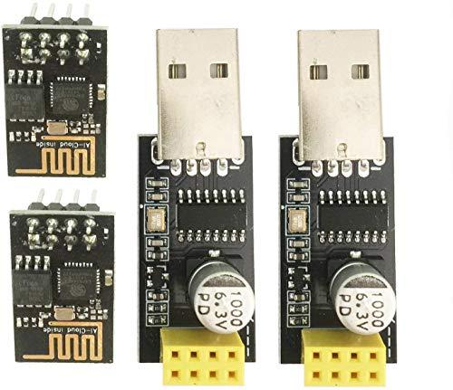 ESP8266 ESP-01 - Módulo transceptor Wi-Fi serie con adaptador USB a ESP8266 para Arduino UNO R3 Mega2560 Nano Frambuesa (2 unidades ESP-01 + 2 unidades USB)