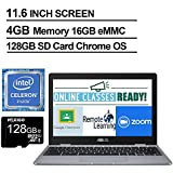 2020 Newest Asus Chromebook 11.6 Inch Laptop, Intel Celeron N3350 up to 2.4 GHz, 4GB RAM, 16GB eMMC, WiFi, Bluetooth, Webcam, Chrome OS + NexiGo 128GB MicroSD Card Bundle