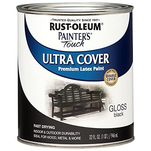 Rust-Oleum 1979502 Painter's Touch Latex Paint, Quart, Gloss Black, 1 Quart