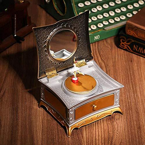 YTYRTIK Linda Chica Bailarina Caja de música Aparador Música Caja de joyería Caja de Almacenamiento Retro