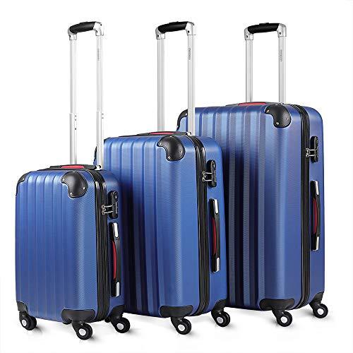 Monzana® Kofferset Baseline 3er Hartschalen-Koffer Trolley Reisekoffer Rollkoffer Handgepäck 4 Rollen M-L-XL Set Blau