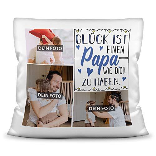 Print Royal Foto-Kissen inkl. Füllung zum Selbstgestalten - für Papa - mit eigener Collage und Spruch - Bestes Fotogeschenk/Geburtstagsgeschenk - Kissen Polyester - Weiß