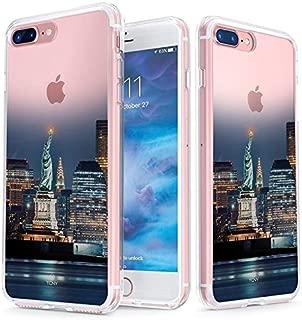 真正的彩色手机壳兼容 iPhone 7 Plus & iPhone 8 Plus 手机壳 - 透明背面印刷透明屏蔽自由雕像 - 柔软硬薄减震防尘全保护壳