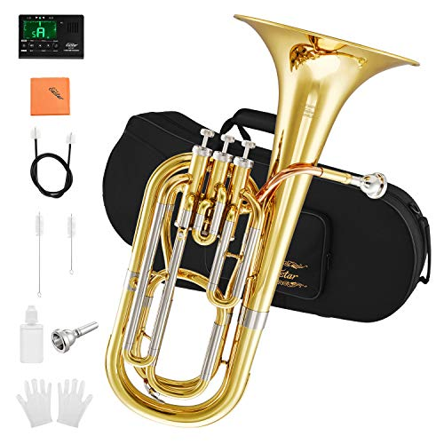Eastar Marching Bb Baritone Horn Intermediate Gold Lacquer B Flat with Tuner Hard Case Baritone Mouthpiece Gloves Valve Oil Baritone Cleaning Kit, EBT-400