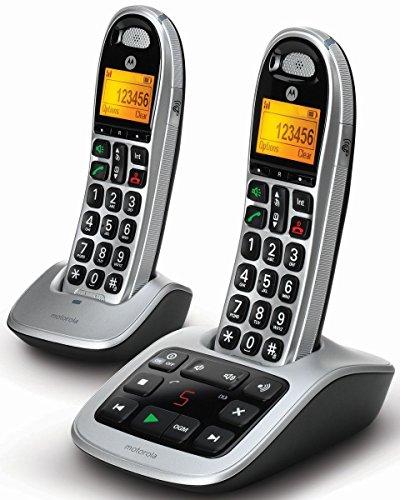 Motorola CD312 Schnurlostelefon, 2-Packung schwarz/silber