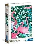 Clementoni- Fantastic Animals-flamencos rosas-500 Piezas Puzzle Adulto Fabricado en Italia 35101
