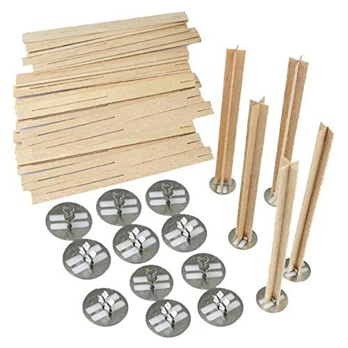 lecimo Candle Wick Wooden Set, Natural Wood Wicks Wood Candle Core with Iron Stand for Handmade Candle Making DIY Candle(10 * 30mm)