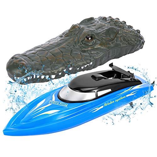 FunsLane motoscafo per Bambini, Barca da Corsa telecomandata ad Alta velocità da 2,4 GHz, Gioco Acquatico per Piscina / Lago / Stagno, Blu
