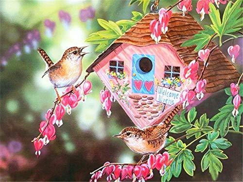 Lovmo Casa de pájaros Pintura de Diamantes DIY, Bordado de Diamantes Cuadrados, decoración de Pared de Mosaico de Diamantes de imitación(Cuadrado 50x60cm)