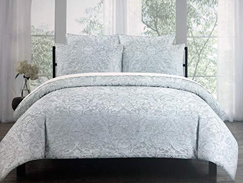 Tahari Home 3pc Duvet Cover Set Raised Embroidered Floral Damask Pattern Birds in White Thread on Light Gray - Charleston (King)