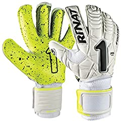 Yellow and white Rinat Egotiko NRG Spine Turf goalie gloves