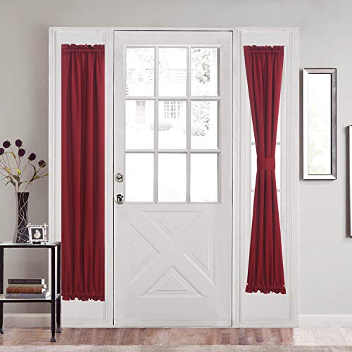 Aquazolax Blackout Door Window Curtains Drapery for Privacy Elegant Window Treatment Rod Pocket French Door Side Panels 25x72-Inch - 1 Pair, Red