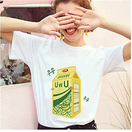 YDXC Camiseta De Mujer Mayos Camiseta De Leche De Plátano Camiseta Coreana para Mujer Mini Gráfico De Dibujos Animados De Leche para Mujer Harajuku De Los Años 90 Top-3_S para Mujer